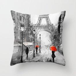 Oil Painting Street View Paris Throw Pillow