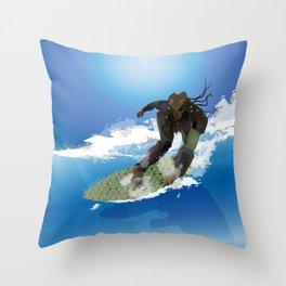Surfing Predator Throw Pillow