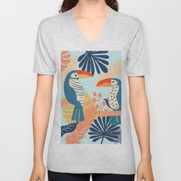 Tropical Jungle Birds Unisex V-Neck