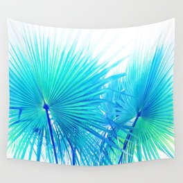 Solar Summer Fan Palms - Blue and Aqua Wall Tapestry