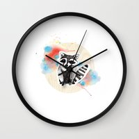 raccoon Wall Clocks featuring Raccoon by Wood + Ink