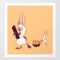 rabbits Art Prints featuring Rabbits by Anya McNaughton
