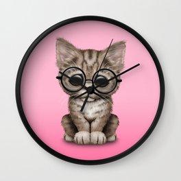 Cute Brown Tabby Kitten Wearing Eye Glasses on Pink Wall Clock