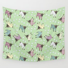 Pajama'd Baby Goats - Green Wall Tapestry