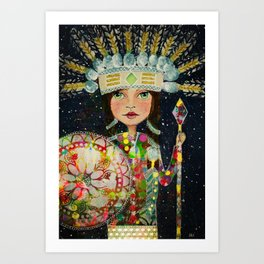 Mixed Media Warrior Princess Art Print