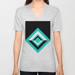 Teal Black and White Diamond Shapes Digital Illustration - Artwork Unisex V-Neck