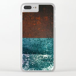 Moon Dust // red blue abstract texture, modern Clear iPhone Case
