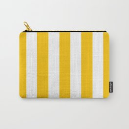 Golden poppy yellow - solid color - white vertical lines pattern Carry-All Pouch