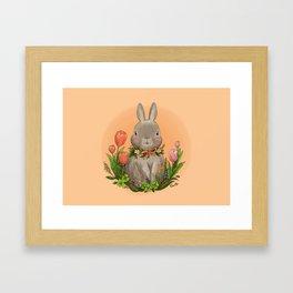 Bunny with Tulip Framed Art Print