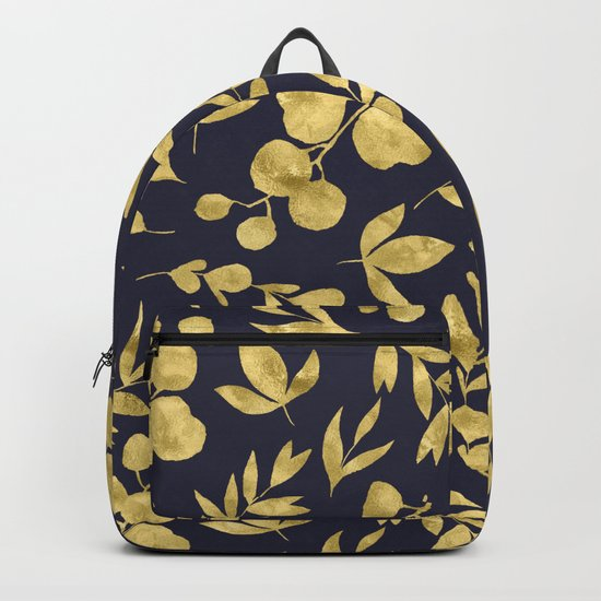 Golden Meadow Gold Leaves on Navy Backpack