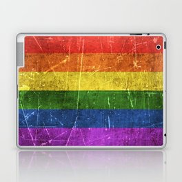 Vintage Aged and Scratched Rainbow Gay Pride Flag Laptop & iPad Skin