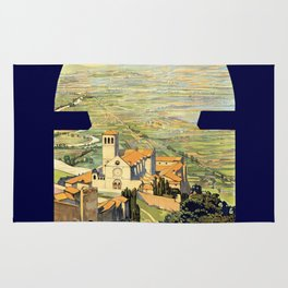 Vintage Litho Travel ad Assisi Italy Rug