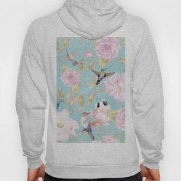 Pastel Teal Vintage Roses and Hummingbird Pattern Hoody