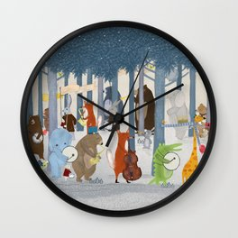 little nature parade Wall Clock