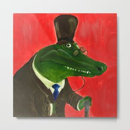 Wise Crocodile from Animal Society Metal Print