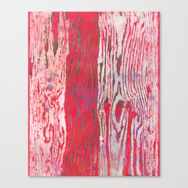 Modern Faux Bois Woodgrain Pattern Art Print - Bright Folk Red Canvas Print