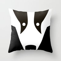 badger Throw Pillows featuring Badger by Christian Bailey