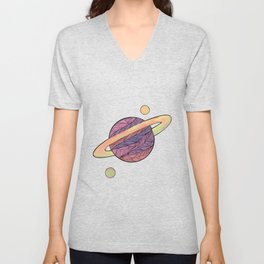 Pink and Purple Ultraviolet Planet Unisex V-Neck