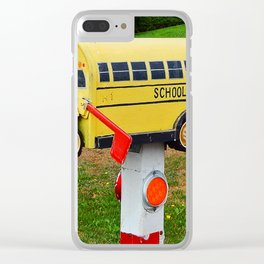 School Bus Mailbox Clear iPhone Case