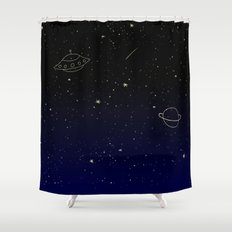 Space Trip to Saturn Shower Curtain