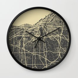 Cleveland map yellow Wall Clock