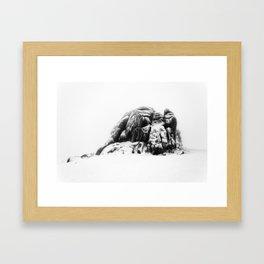 Snowy Haytor in the mist Framed Art Print
