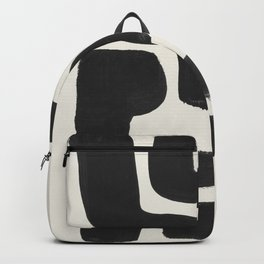 Black Ink Paint Brush Strokes Abstract Organic Pattern Mid Century Style Backpack