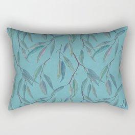Eucalyptus leaves on sky blue Rectangular Pillow
