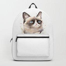 Grumpy Watercolor Cat Animals Meme Geek Art Backpack