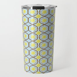 abstract geometry retro style floral pattern with yellow flowers on a light blue background Travel Mug