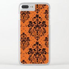 Vintage black orange halloween floral damask Clear iPhone Case