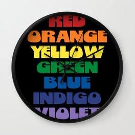 Retro ROYGBIV Color Chart Wall Clock