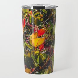 green leaves and orange leaves texture background Travel Mug