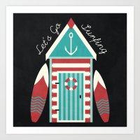 Let's Go Surfing. Art Print