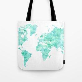 Teal aquamarine watercolor world map Tote Bag