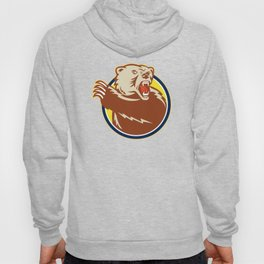 Grizzly Bear Swiping Paw Retro Hoody