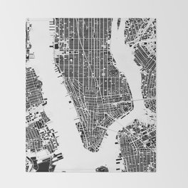 New York city map black and white Throw Blanket