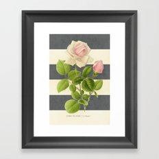 botanical stripes I - gray Framed Art Print