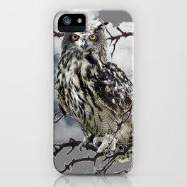 WINTER'S GREY SKIES & WILDLIFE OWL IN TREE iPhone Case