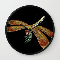 dragonfly Wall Clocks featuring Dragonfly by Tim Jeffs Art