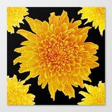 Golden Yellow Chrysanthemums Black color Art Design Canvas Print