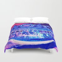carousel Duvet Covers featuring Carousel Merry-G0-Round Pink Purple by WhimsyRomance&Fun