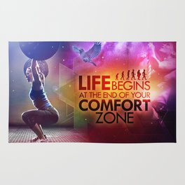 CrossFit - Life Begins At the Edge of Your Comfort Zone. Rug