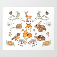Lady Woodland Art Print
