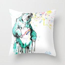 Bashful Bear. Throw Pillow