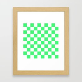 Cheerful Green Checkerboard Pattern Framed Art Print