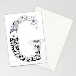 Floral Pen and Ink Letter G Stationery Cards