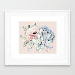 Elegant Blush Pink Succulent Garden by Nature Magick Framed Art Print