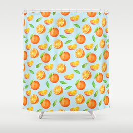 Watercolor Oranges Pattern 3 Shower Curtain