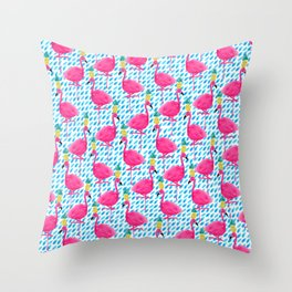 Party Flamingos Throw Pillow